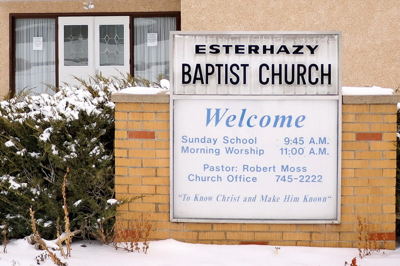 Esterhazy Baptist Church building welcome sign
